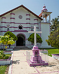 The pink and white Santo Templo church in the small town of San Mateo Yetla, Valle Nacional, Oaxaca, Mexico.