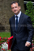 Alun Cairns MP (Secretary of State for Wales).<br /> <br /> London, 12/06/2017. Today, Theresa May's reshuffled Cabinet met at 10 Downing Street after the General Election of the 8 June 2017. Philip Hammond MP - not present in the photos - was confirmed as Chancellor of the Exchequer. <br /> After 5 years of the Coalition Government (Conservatives &amp; Liberal Democrats) led by the Conservative Party leader David Cameron, and one year of David Cameron's Government (Who resigned after the Brexit victory at the EU Referendum held in 2016), British people voted in the following way: the Conservative Party gained 318 seats (42.4% - 13,667,213 votes &ndash; 12 seats less than 2015), Labour Party 262 seats (40,0% - 12,874,985 votes &ndash; 30 seats more then 2015); Scottish National Party, SNP 35 seats (3,0% - 977,569 votes &ndash; 21 seats less than 2015); Liberal Democrats 12 seats (7,4% - 2,371,772 votes &ndash; 4 seats more than 2015); Democratic Unionist Party 10 seats (0,9% - 292,316 votes &ndash; 2 seats more than 2015); Sinn Fein 7 seats (0,8% - 238,915 votes &ndash; 3 seats more than 2015); Plaid Cymru 4 seats (0,5% - 164,466 votes &ndash; 1 seat more than 2015); Green Party 1 seat (1,6% - 525,371votes &ndash; Same seat of 2015); UKIP 0 seat (1.8% - 593,852 votes); others 1 seat. <br /> The definitive turn out of the election was 68.7%, 2% higher than the 2015.<br /> <br /> For more info about the election result click here: http://bbc.in/2qVyNRd &amp; http://bit.ly/2s9ob51<br /> <br /> For more info about the Cabinet Ministers click here: https://goo.gl/wmRYRd