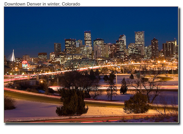 Downtown Denver skyline at night, Colorado, USA. John offers private photo tours of Denver, Boulder and Rocky Mountain National Park. .  John offers private photo tours in Denver, Boulder and throughout Colorado. Year-round Colorado photo tours.