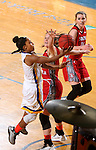 BROOKINGS, SD - FEBRUARY 4:  Alexis Alexander #1 from South Dakota State takes the ball to the basket past Abigail Fogg #44 from the University of South Dakota during their game Saturday afternoon at Frost Arena in Brookings. (Photo by Dave Eggen/Inertia)
