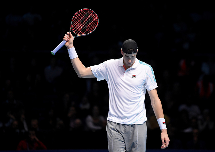John Isner in action against Marin Cilic<br /> Photographer Hannah Fountain/CameraSport<br /> <br /> International Tennis - Nitto ATP World Tour Finals Day 4 - O2 Arena - London - Wednesday 14th November 2018<br /> <br /> World Copyright © 2018 CameraSport. All rights reserved. 43 Linden Ave. Countesthorpe. Leicester. England. LE8 5PG - Tel: +44 (0) 116 277 4147 - admin@camerasport.com - www.camerasport.com