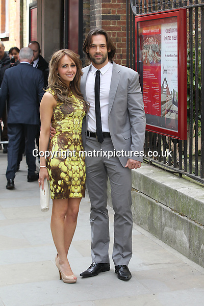 NON EXCLUSIVE PICTURE: MATRIXPICTURES.CO.UK.PLEASE CREDIT ALL USES..WORLD RIGHTS..British Coronation Street actress Samia Ghadie and her Dancing On Ice partner Sylvain Longchambon are pictured arriving at St. James's Church ahead of Coronation Street star Helen Worth's wedding ceremony at 1pm in Piccadilly, London...APRIL 6th 2013..REF: MTX 132258
