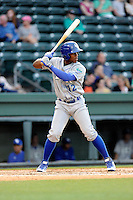 Right fielder Elier Hernandez (12) of the Lexington Legends bats in a game against the Greenville Drive on Tuesday, April 14, 2015, at Fluor Field at the West End in Greenville, South Carolina. Lexington won, 5-3. (Tom Priddy/Four Seam Images)