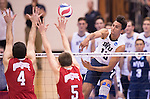 07 MAY: Ben Patch (13) of Brigham Young University goes for a kill Ohio State University during the Division I Men's Volleyball Championship held at Rec Hall on the Penn State University campus in University Park, PA. Ohio State defeated BYU 3-1 for the national title. Ben Solomon/NCAA Photos