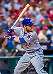 7 October 2017: Chicago Cubs outfielder Ben Zobrist at bat during the second game of the NLDS against the Washington Nationals at Nationals Park in Washington, DC. The Nationals defeated the Cubs 6-3 and even their best of five Postseason series at one game apiece. Mandatory Credit: Ed Wolfstein Photo *** RAW (NEF) Image File Available ***