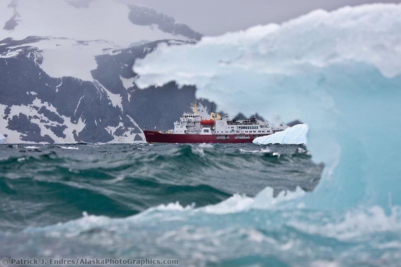 M/V Polar Star icebreaker and iceberg, Shingle Cove, Coronation Island, South Orkney Islands, Southern Ocean