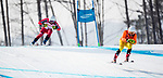 PyeongChang 10/3/2018 - Mac Marcoux and guide Jack Leitch ski to the gold medal in the men's visually impaired downhill at the Jeongseon Alpine Centre during the 2018 Winter Paralympic Games in Pyeongchang, Korea. Photo: Dave Holland/Canadian Paralympic Committee