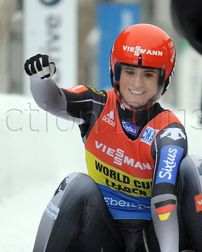 20.02.2016. Winterberg, Germany.  Natalie Geisenberger of Germany celebrates after finishing second and becoming the 2015/2016 season's overall winner in the women's singles at the Luge World Cup in Winterberg, Germany, 20 Febraury 2016.