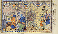 """(left) The Sacrifices of Cain and Abel; Cain Murders His Brother: The Lord is pleased with the ram Abel has brought as a sacrifice, but Cain meets with no such favour for the sheaves he presents at the altar. Furiously jealous, Cain later slays Abel with a hatchet. (Genesis 4:3ñ8); (right) The Death of Cain: This scene is drawn from an account popular in the middle ages that expanded upon the brief description of Cain's death in the Book of Genesis. The aged and blind Lamech, his aim guided by a boy, shoots Cain with bow and arrow as he is tangled in a bush. Note that in this and the preceding miniatures, the painter has deliberately ignored some of the plants springing from the ground, perhaps to create a contrast between the barren nature of the world and the lush Garden of Eden. (Genesis 4:15, 23ñ24). Excerpt of the first edition of the """"Crusader Bible"""", 13th century manuscript kept in the Pierpont Morgan Library in New York, on natural parchment made of animal skin published by Scriptorium SL in Valencia, Spain. © Scriptorium / Manuel Cohen"""