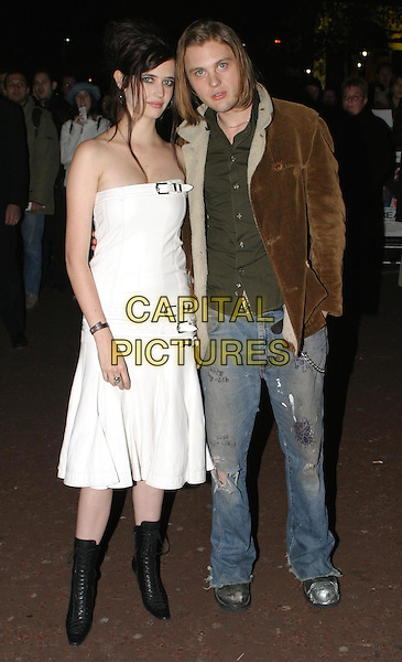 EVA GREEN & MICHAEL PITT.The Dreamers premiere at the Odeon West End as part of the BFI London Film Festival.full length, full-length, white strapless buckle dress, scruffy denim jeans, ankle boots.www.capitalpictures.com.sales@capitalpictures.com.© Capital Pictures.