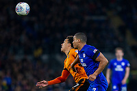 Helder Costa of Wolverhampton Wanderers and Lee Peltier of Cardiff City during the Sky Bet Championship match between Cardiff City and Wolverhampton Wanderers at the Cardiff City Stadium, Cardiff, Wales on 6 April 2018. Photo by Mark  Hawkins / PRiME Media Images.