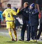 James Fowler celebrates with gaffer Kenny SHiels