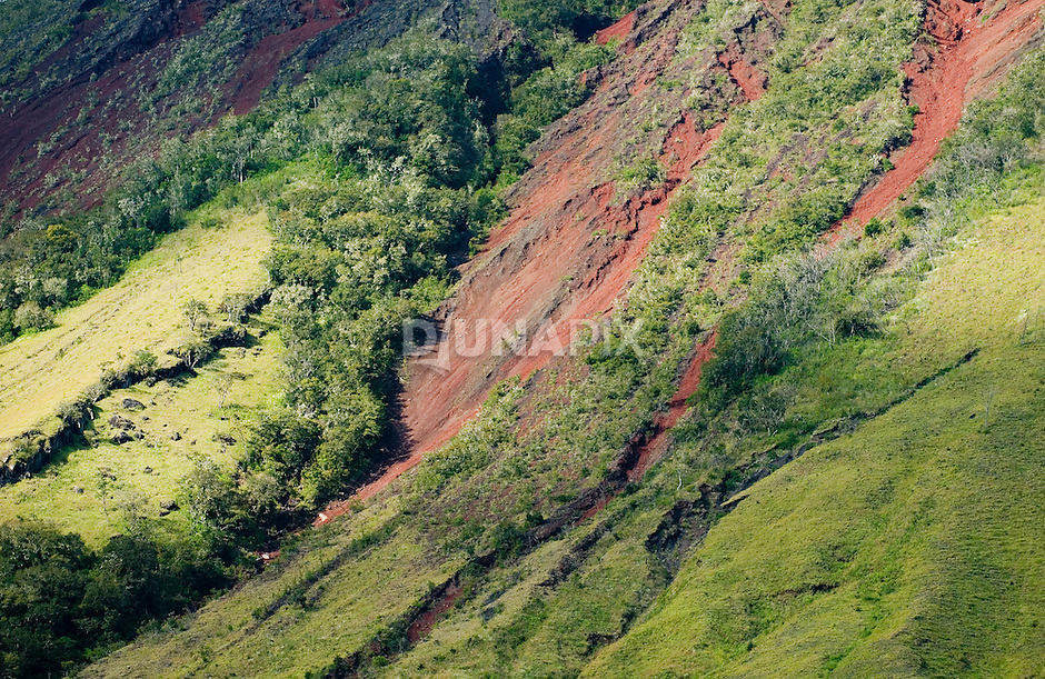 Red and green slopes of Mount Inerie volcano, Bajawa, Flores, Indonesia