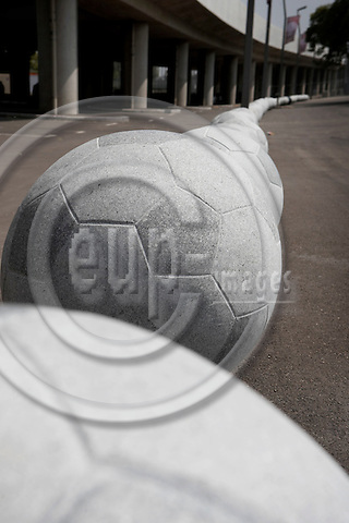"""VIENNA - AUSTRIA 26. MAY 2008 -- European Football Championship EURO2008 is happening in Austria and Switzerland - Bollard in stone formed as large footballs at Vienna stadion -- PHOTO: CHRISTIAN T. JOERGENSEN / EUP & IMAGES..This image is delivered according to terms set out in """"Terms - Prices & Terms"""". (Please see www.eup-images.com for more details)"""