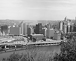 Pittsburgh PA:  View of Pittsburgh's Gateway Center with the new Gateway Towers under construction - 1965.  From left to right; Hilton Hotel, Gateway 1, 2 & 3, Pennsylvania State Office Building, Gateway 4, Pittsburgh Press building, Bell Telephone Building, and IBM Building.