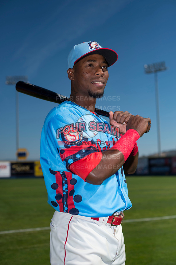 Spokane Indians outfielder Julio Pablo Martinez (27) poses for a photo before a Northwest League game against the Vancouver Canadians at Avista Stadium on September 2, 2018 in Spokane, Washington. The Spokane Indians defeated the Vancouver Canadians by a score of 3-1. (Zachary Lucy/Four Seam Images)