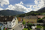 Roof tops,forest and mountains. Imst district,Tyrol, Austria.