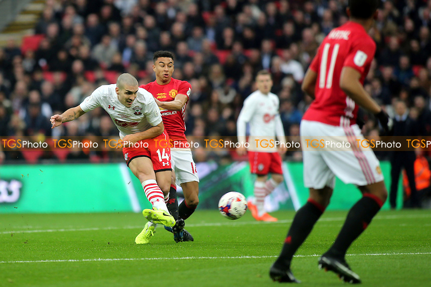 Oriol Romeu of Southampton passes the ball upfield during Manchester United vs Southampton, EFL Cup Final Football at Wembley Stadium on 26th February 2017