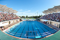 STANFORD, CA - October 9, 2010: Team in the Stanford pool during a water polo game against USC in Stanford, California. Stanford beat USC 5-3.