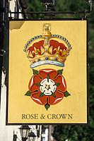 Wales, Tintern Village Pub Sign, Rose & Crown.