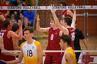 STANFORD, CA - March 10, 2018: Leo Henken, Matt Klassen, Eli Wopat at Burnham Pavilion. UC Irvine defeated the Stanford Cardinal, 3-0.