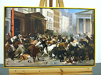Cleared Reproduction of William Holbrook, The Bears and Bulls in the Market, Framed in gold Leaf Float, 28 1/2' x 43 1/2""