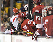 Colin Blackwell (Harvard - 63) - The Boston University Terriers defeated the Harvard University Crimson 3-1 in the opening round of the 2012 Beanpot on Monday, February 6, 2012, at TD Garden in Boston, Massachusetts.