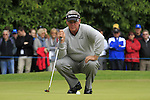 Darren Clarke (NIR) lines up his putt on the 1st green during the Final Day of the BMW PGA Championship Championship at, Wentworth Club, Surrey, England, 29th May 2011. (Photo Eoin Clarke/Golffile 2011)