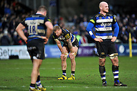 Dominic Day of Bath Rugby looks dejected after the match. Aviva Premiership match, between Bath Rugby and Wasps on February 20, 2016 at the Recreation Ground in Bath, England. Photo by: Patrick Khachfe / Onside Images