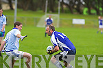 Kerins O'Rahillys Ken Savage looks for options as Laune Rangers Ger O'Sullivan closes in during their County League Division 5 clash in JP O'Sullivan Park, Killorglin on Sunday...................