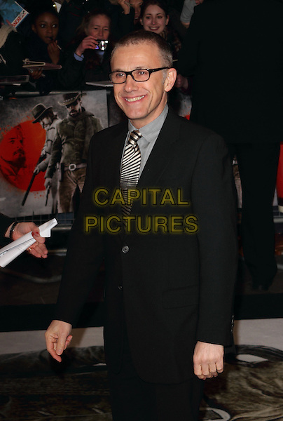 Christoph Waltz.The UK Premiere of 'Django Unchained', Empire Leicester Square, London, England..January 10th 2013.half length black suit grey gray shirt glasses smiling .CAP/ROS.©Steve Ross/Capital Pictures