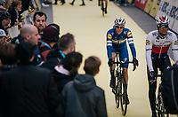 Niki Terpstra (NED/Quick-Step Floors) &amp; Zdenek Stybar (CZE/Quick-Step Floors) rolling to the start<br /> <br /> 102nd Ronde van Vlaanderen 2018 (1.UWT)<br /> Antwerpen - Oudenaarde (BEL): 265km