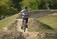 NWA Democrat-Gazette/BEN GOFF @NWABENGOFF<br /> Riders session the slopestyle area on Saturday Oct. 1, 2016 during Slaughter Pen Jam in Bentonville. The event continues Sunday with the Slaughter Pen Jam cross country mountain bike races.