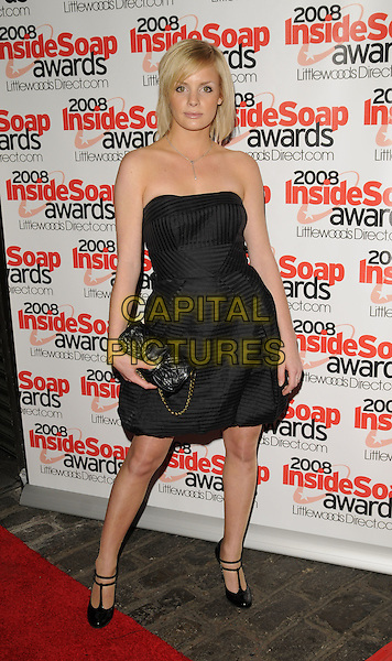 LAUREN CRACE .Arrivals at the Inside Soap Awards, Gilgamesh Restaurant, The Stables, Chalk Farm Road, Camden, London, england..September 29th, 2008.full length black strapless dress t-bar double strap mary janes shoes bag purse .CAP/CAN.©Can Nguyen/Capital Pictures.