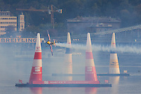 0708193964a Red Bull Air Race international air show qualifying runs over the river Danube, Budapest preceding the anniversary of Hungarian state foundation. Hungary. Sunday, 19. August 2007. ATTILA VOLGYI