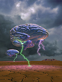 Brain w/lightning  floating over landscape