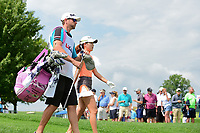 Jennifer Song (USA) departs the first tee during Saturday's third round of the 72nd U.S. Women's Open Championship, at Trump National Golf Club, Bedminster, New Jersey. 7/15/2017.<br /> Picture: Golffile | Ken Murray<br /> <br /> <br /> All photo usage must carry mandatory copyright credit (&copy; Golffile | Ken Murray)