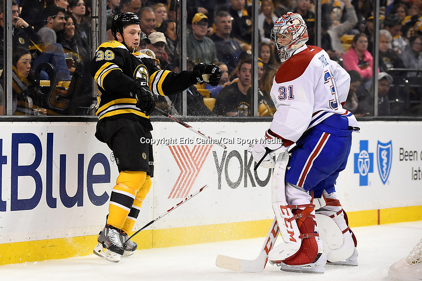 Saturday, October 10, 2105: Boston Bruins left wing Matt Beleskey (39) breaks his stick playing the puck behind goalie Carey Price's (31) net during the NHL game between the Montreal Canadiens and the Boston Bruins held at TD Garden, in Boston, Massachusetts. Montreal defeats Boston 4-2 in regulation time. Eric Canha/CSM