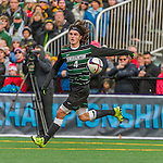 15 November 2015: Binghamton University Bearcat Backfielder Zach Galluzzo, a Junior from Ronkonkoma, NY, in action against the University of Vermont Catamounts at Virtue Field in Burlington, Vermont. The Bearcats fell to the Catamounts 1-0 in the America East Championship Game. Mandatory Credit: Ed Wolfstein Photo *** RAW (NEF) Image File Available ***