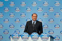 Roma, 16 Febbraio, 2010. Silvio berlusconi durante la campagna elettorale del PDL per le elezioni regionali.