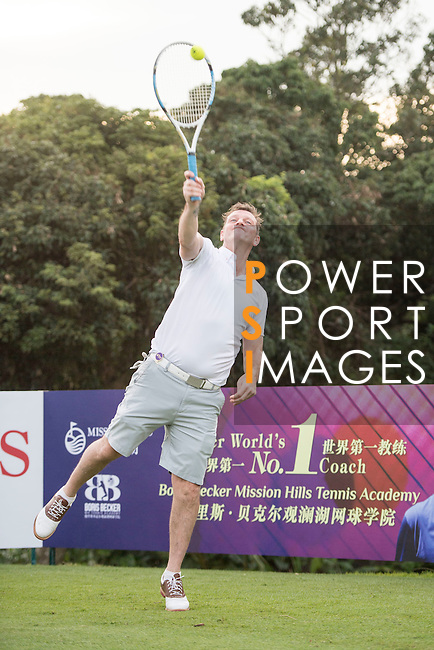 Lee Sharpe plays tennis at the 10th hole during the World Celebrity Pro-Am 2016 Mission Hills China Golf Tournament on 21 October 2016, in Haikou, China. Photo by Weixiang Lim / Power Sport Images