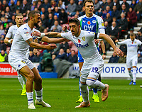 Leeds United's Pablo Hernandez celebrates scoring his side's equalising goal to make the score 1-1<br /> <br /> Photographer Alex Dodd/CameraSport<br /> <br /> The EFL Sky Bet Championship - Wigan Athletic v Leeds United - Sunday 4th November 2018 - DW Stadium - Wigan<br /> <br /> World Copyright &copy; 2018 CameraSport. All rights reserved. 43 Linden Ave. Countesthorpe. Leicester. England. LE8 5PG - Tel: +44 (0) 116 277 4147 - admin@camerasport.com - www.camerasport.com