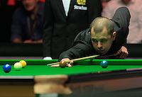 Barry Hawkins breaks off in the first frame during the Dafabet Masters FINAL between Barry Hawkins and Ronnie O'Sullivan at Alexandra Palace, London, England on 17 January 2016. Photo by Liam Smith / PRiME Media Images