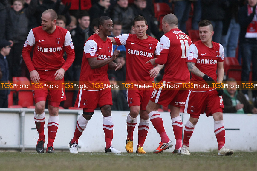 Kevin Lisbie of Leyton Orient scores third goal and celebrates - Leyton Orient vs AFC Bournemouth - NPower League One Football at the Matchroom Stadium, Brisbane Road - 02/03/13 - MANDATORY CREDIT: George Phillipou/TGSPHOTO - Self billing applies where appropriate - 0845 094 6026 - contact@tgsphoto.co.uk - NO UNPAID USE.