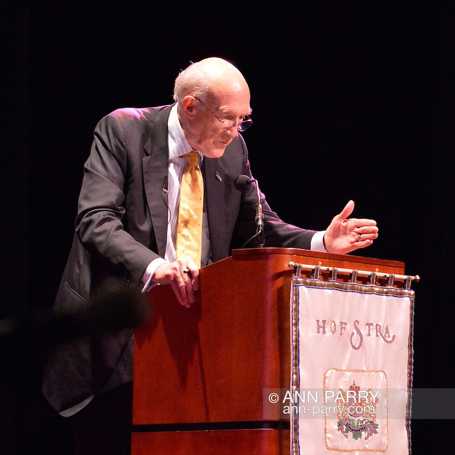 "Oct. 15, 2012 - Hempstead, New York, U.S. - Former Senator ALAN SIMPSON (Republican) speaks at Hofstra University about ?America's Debt and Deficit Crisis: Issues and Solutions.? Also speaking was Bowles (not shown), his fellow co-chairman of the National Commission on Fiscal Responsibility and Reform and co-leader of the Simpson-Bowles non-partisan U.S. fiscal debt reduction plan. This was part of ""Debate 2012 Pride Politics and Policy"" a series of events leading up to when Hofstra hosts the 2nd Presidential Debate between Obama and M. Romney, the next night, October 16, 2012, in a Town Meeting format."