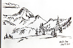 Eagle Cap Wilderness, Eagle Cap, Oregon, ink on paper, Journal Art 2010,
