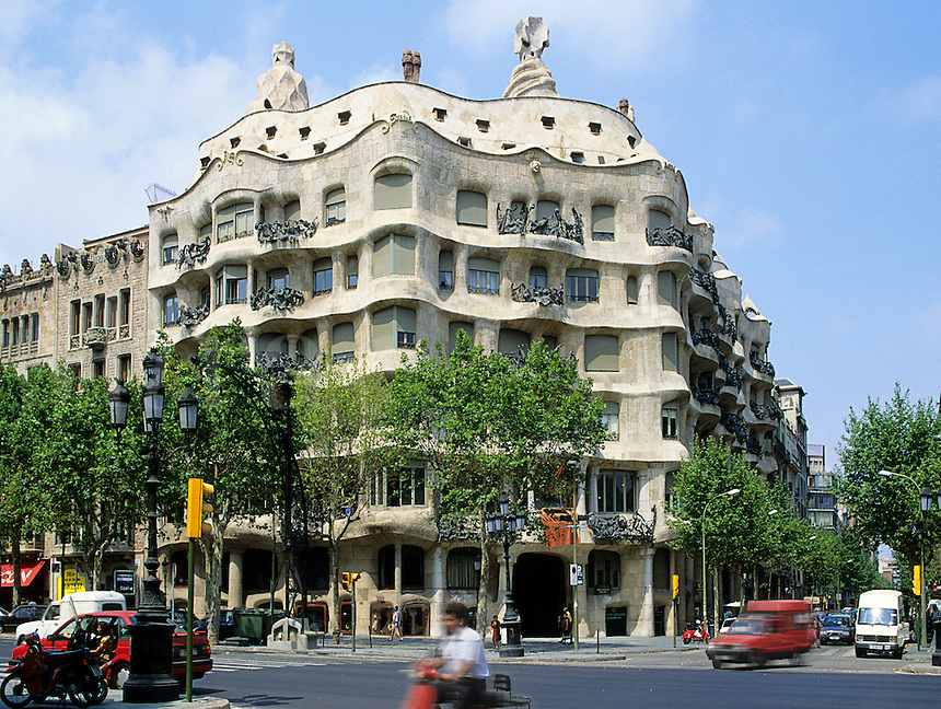 La Pedrera/Casa Mila Barcelona, Spain.  Apartment building designed by the architect Antonio Gaudi finished 1920..