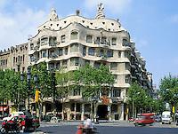 La Pedrera/Casa Mila Barcelona, Spain.  Apartment building designed by the architect Antonio Gaudi finished 1920..