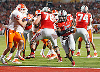 Ohio State Buckeyes quarterback Braxton Miller (5) scores on a touchdown run in the 2nd quarter of their game against Clemson Tigers in the Discover Orange Bowl at Sun Life Stadium in Miami Gardens, Florida on January 3, 2014.(Dispatch photo by Kyle Robertson)