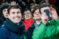 Swansea fans during the Barclays Premier League match between Arsenal and Swansea City at the Emirates Stadium, London, UK, Wednesday 02 March 2016
